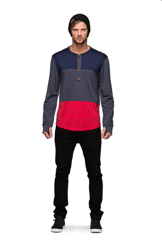 Henley LS - Navy / Charcoal / Red