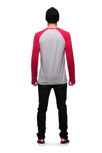 Raglan LS - Grey Marl / Red