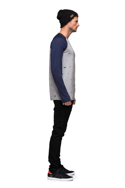 Raglan LS - Grey Lifts / Navy
