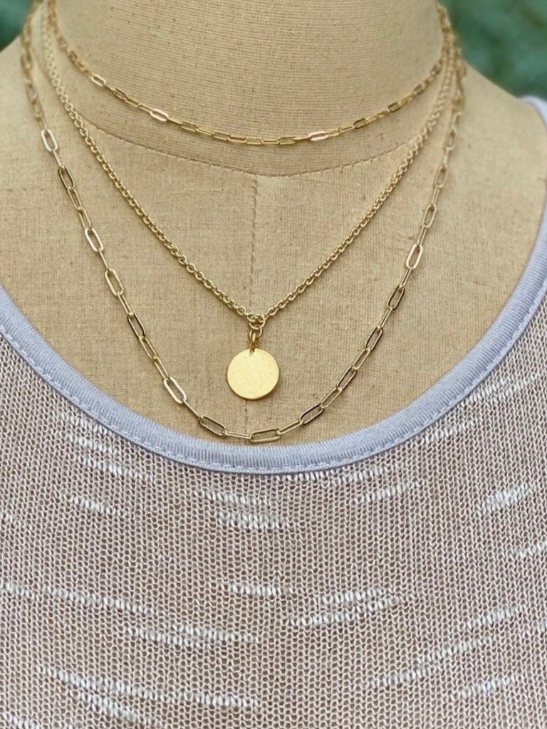 Dew Drop Necklace Coin Gold