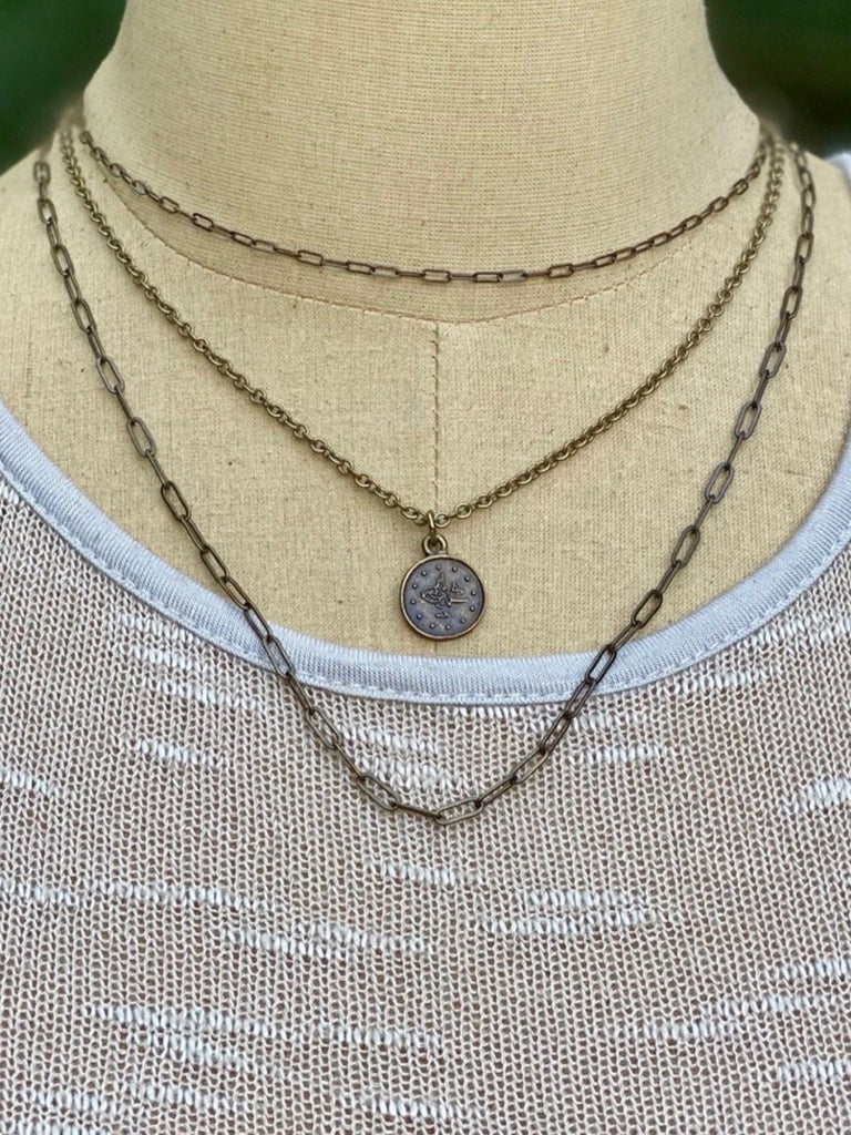 Dew Drop Necklace Coin  Brass