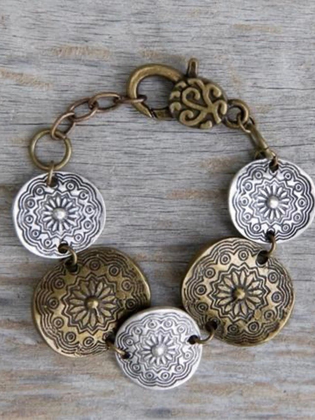 Etched Coin Bracelet
