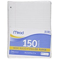 2 Pk. Mead Filler Paper, Loose-Leaf Paper. 150 Sheets Per Pack.