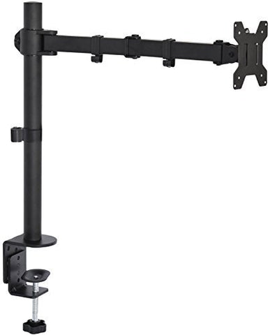 Vivo Single Lcd Monitor Articulating Desk Mount Stand With C-Clamp And Grommet Mounting Options | Fully Adjustable (Tilt, Swivel, Rotation) Arm Holds One (1) Screen Up To 27  (Stand-V001)