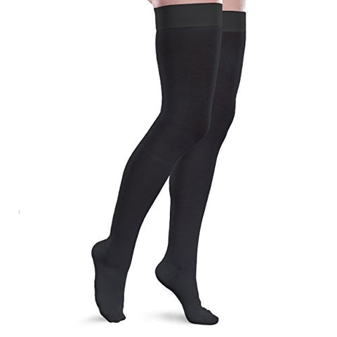 Therafirm Core-Spun 20-30Mmhg Moderate Graduated Compression Support Thigh High Socks (Black, Small Long)