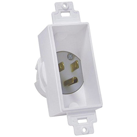 Midlite 4642-W Single Gang Dcor Recessed Power Inlet