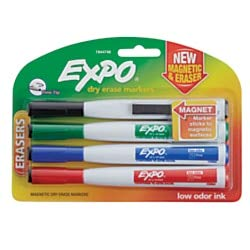 Expo Magnetic Dry Erase Markers With Eraser, Fine Tip, Assorted Ink Colors