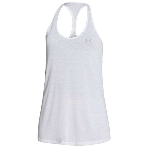 Under Armour Women'S Ua Solid Lux Tank, White/Silver Lg (Us 12-14)