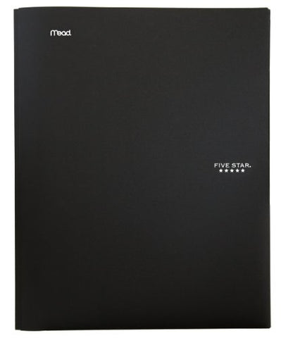 Five Star 2-Pocket Folder, Stay-Put Folder, Folders With Pockets, Black (72113)