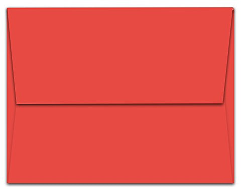 100 Red A6 Envelopes - 6.5  X 4.75  - Square Flap