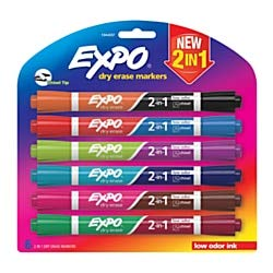 Expo 2-In-1 Dry-Erase Markers, Chisel Tip, Assorted Ink Colors