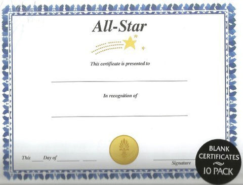 Certificates Blank  All Star