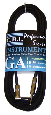 Cbi Ga1 1/4  To 1/4  Right Angle Guitar Instrument Cable, 12 Feet