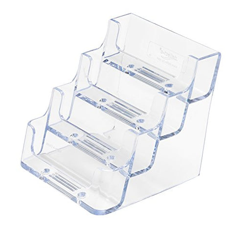 Deflecto Business Card Holder Display, Multi-Compartment, 3-7/8 W X 3-1/2 H X 4-1/8 D, 4 Compartments, Clear (70841)