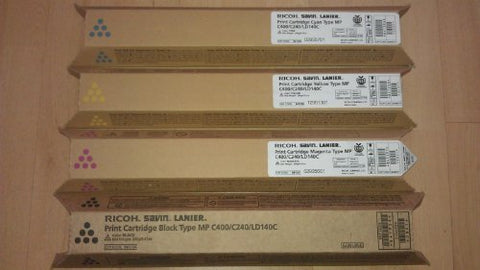 Genuine Ricoh Type Mp C400 / C240 / Ld140C High Yield Toner Bundle Set 841724,841725, 841726, 841727, Bcym Sealed In Retail Packaging