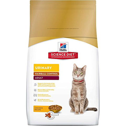 Hill'S Science Diet Adult Urinary &Amp; Hairball Control Cat Food, Chicken Recipe Dry Cat Food, 15.5 Lb Bag