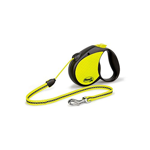Flexi Neon Retractable Dog Leash (Cord) 16 Ft, Medium, Black/Neon