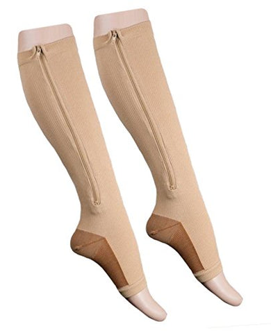 Starmace Leg Calf 20-30 Mmhg Compression Zipper Stockings Pressure Circulation Hosiery Varicose Veins Muscle Soreness Zip Up Socks (2Xl, Beige)