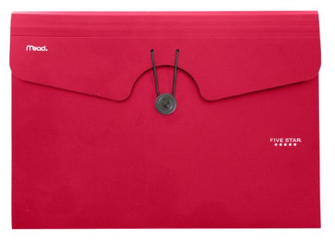 Five Star 6-Pocket Expanding File, Plastic Expandable File Folder, Red (72387)
