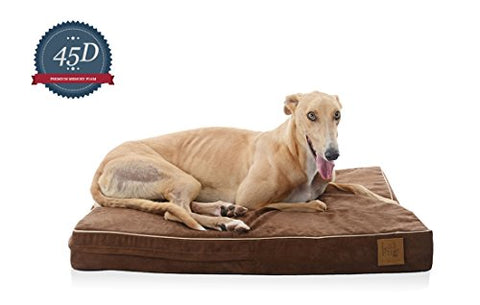 Laifug Orthopedic Memory Foam Pet/Dog Bed (Large(46 X28 X4 ) Chocolate) With Durable Water Proof Liner And Removable Designer Washable Cover
