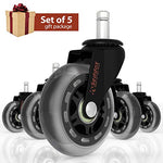 Professional Office Chair Caster Wheels Gift Set Of 5 - Protect All Your Floors - 3'' Heavy Duty Replacement Rollerblade Rubber Desk Chair Casters - Best Protection For Your Hardwood Floors
