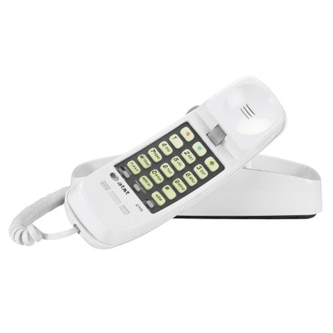 At&Amp;T 210 Basic Trimline Corded Phone, No Ac Power Required, Wall-Mountable, White
