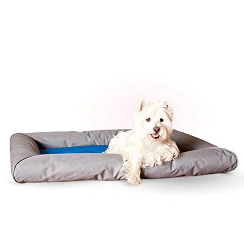 K&Amp;H Pet Products Cool Bed Deluxe With Bolster Medium Blue/Gray 25  X 32