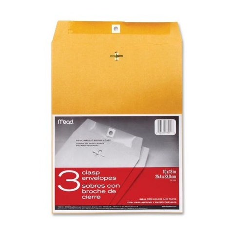 Mead : Clasp Envelopes, Heavyweight, 10 X13 , Brown Kraft -:- Sold As 2 Packs Of - 3 - / - Total Of 6 Each