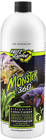 Fritz Aquatics 75032 Fritzzyme Monster 360 Concentrated Biological Conditioner For Fresh Water Aquariums, 32-Ounce