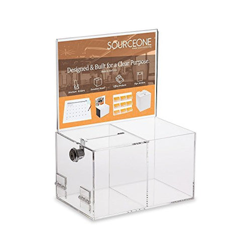 Source One Deluxe Donation Box - Collection Box - Tip Container - With Two Compartments For Give &Amp; Take- Treat Or Prize Compartment