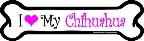 Imagine This 7-Inch By 2-1/4-Inch Car Magnet Pink Bone, I Love My Chihuahua