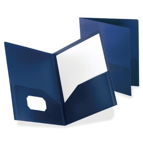 Oxford Poly Two-Pocket Folders, Dark Blue, Letter Size, 25 Per Box, (57402)