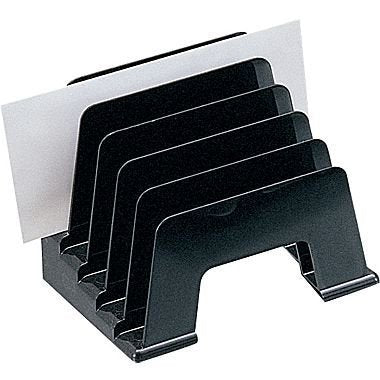 1Intheoffice Plastic Incline Desktop File Sorter, 5 Compartments, Black