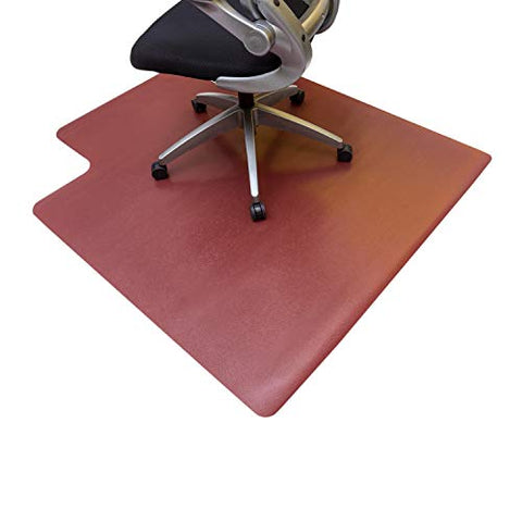 Resilia Office Desk Chair Mat With Lip  Pvc Mat For Hard Floor Protection, Burgundy, 45 Inches X 53 Inches, Made In The Usa