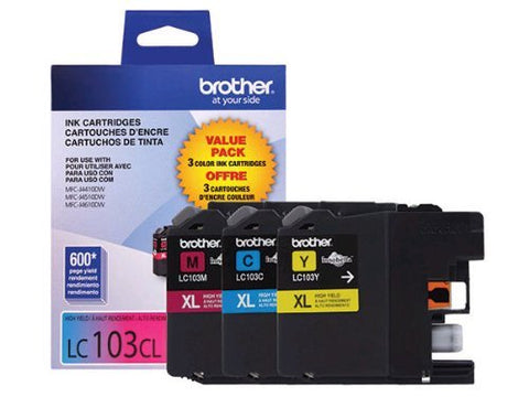 Brother Genuine High Yield Color Ink Cartridge, Lc1033Pks, Replacement Color Ink Three Pack, Includes 1 Cartridge Each Of Cyan, Magenta &Amp; Yellow, Page Yield Up To 600 Pages/Cartridge, Lc103