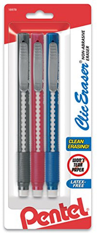 Pentel Clic Retractable Eraser With Grip, Assorted Barrels, (Ze21Bp3M)