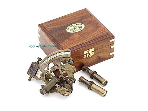 Roorkee Antique Sextant For Navigation/Marine Brass Sextant Instrument For Ship/ Celestial &Amp; Nautical Sextant With Two Extra Sighting Telescope/Astrolable Sextant Tool With Wooden Box Case