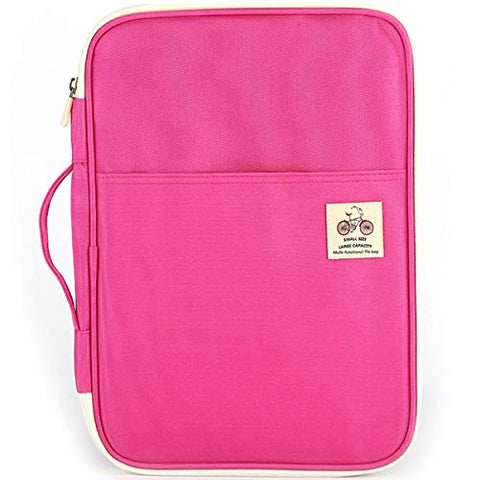 Jakago Waterproof Business Portfolio With Zippered Closure And Interior 10.1 Inch Tablet Sleeve &Amp; Phone Slot &Amp; Writing Pad Folder Document Organizer For Resumes, Interviews Business Meetings(Pink)