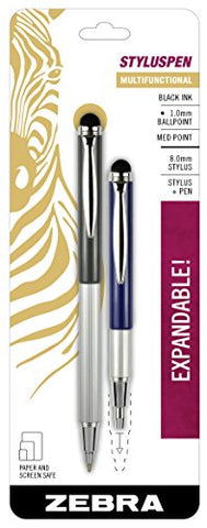 Zebra Styluspen Telescopic Ballpoint Pen, Medium Point, 1.0Mm, Black Ink, Grey And Navy Barrels, 2-Count