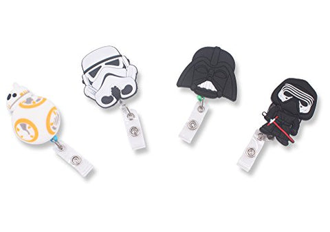 Finex Set Of 4 Star Wars Bb8 Darth Vader Kylo Ren Stormtrooper Badge Id Clip Reel Retractable Holder Office Work Nurse Name Badge Tag Clip On Card Holders Cute - 30 Inch Cord Extension