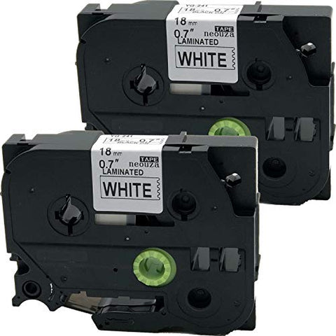 Neouza 2Pk Compatible For Brother P-Touch Laminated Tze Tz Label Tape Cartridge 18Mm (Tz-241 Tze-241 Black On White)