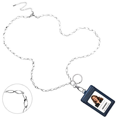 Elisa Convertible Necklace Fashion Lanyard With Stainless Steel Chain &Amp; Genuine Leather Id Badge Holder. 3 Card Pockets. Adjustable With 4'' Detachable Necklace Extender. Midnight Blue Holder.
