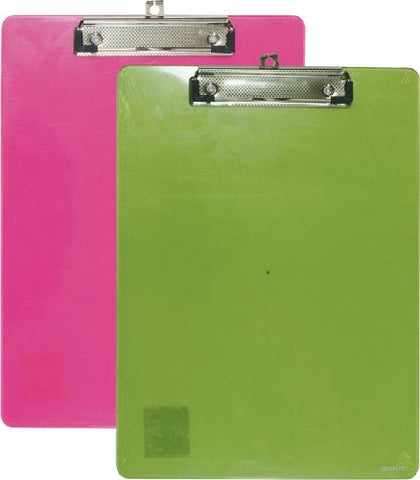 Bazic Standard Size Plastic Clipboard W/ Low Profile Clip, Colors May Vary