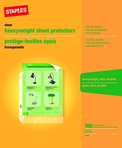 Staples Heavy-Duty Sheet Protectors 100 Sheets Letter Size