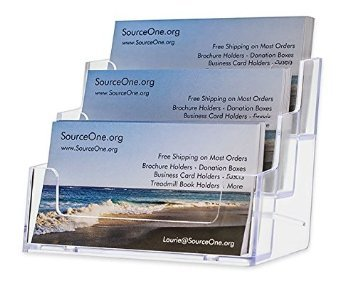 Sourceone 3 Pocket Premium Clear Acrylic Business Card Holder (Xdeep3Pclrbc)