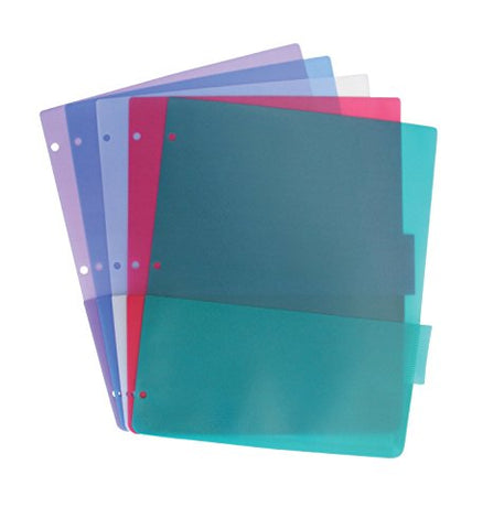 School Smart Tabbed Poly Binder Pocket Pages, Assorted Colors, Set Of 5