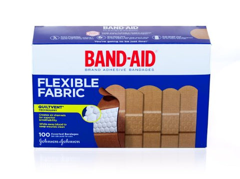 Band-Aid Brand Adhesive Assorted Bandages, Flexible Fabric, 100 Count