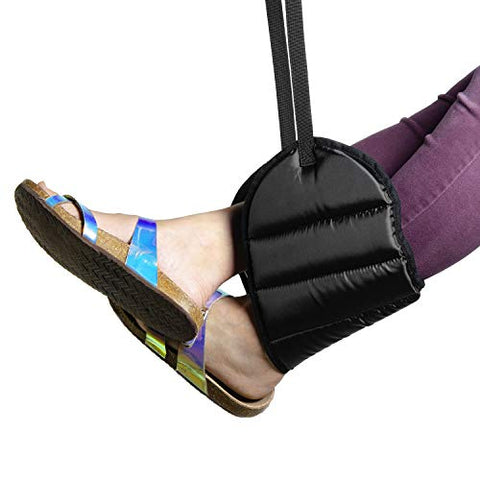 Airplane Footrest With Extra Thick Premium Quality Memory Foam - Adjustable Foot Rest Hammock Prevents Swelling &Amp; Joints From Aching, Improves Circulation &Amp; Relaxes Muscles For Ultimate Travel Comfort