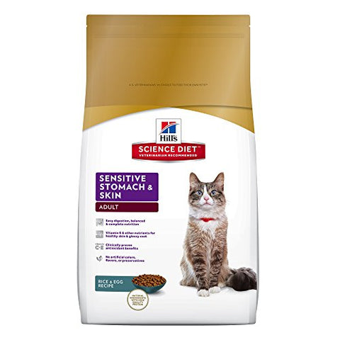 Hill'S Science Diet Adult Sensitive Stomach &Amp; Skin Cat Food, Rice &Amp; Egg Recipe Dry Cat Food, 15.5 Lb Bag