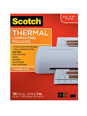 Scotch Thermal Laminating Pouches, 8.9 X 11.4-Inches, 5 Mil Thick, (Tp5854-100),Clear